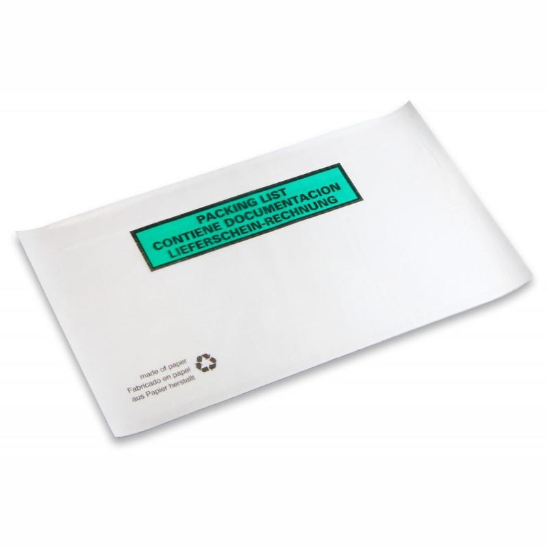 Dokumententaschen, weiß DIN-Lang, 240 x130mm. Pergaminpapier. mit Druck Liefersch./Rechnung