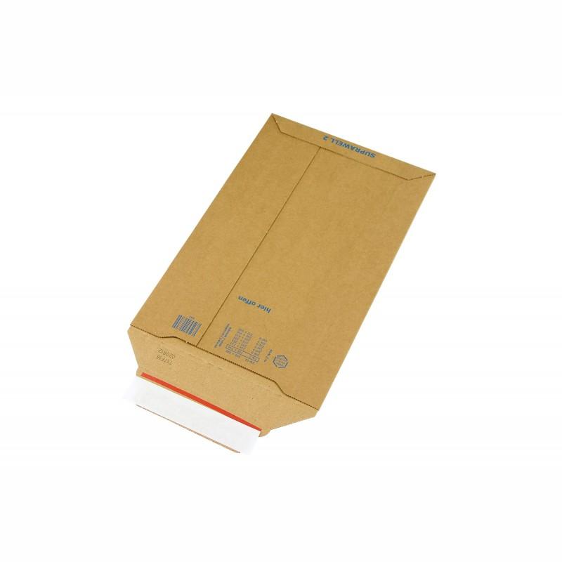 Wellpapp-Versandtasche 194x310mm, B5. braun, SK-Verschluss und. Aufreißhilfe