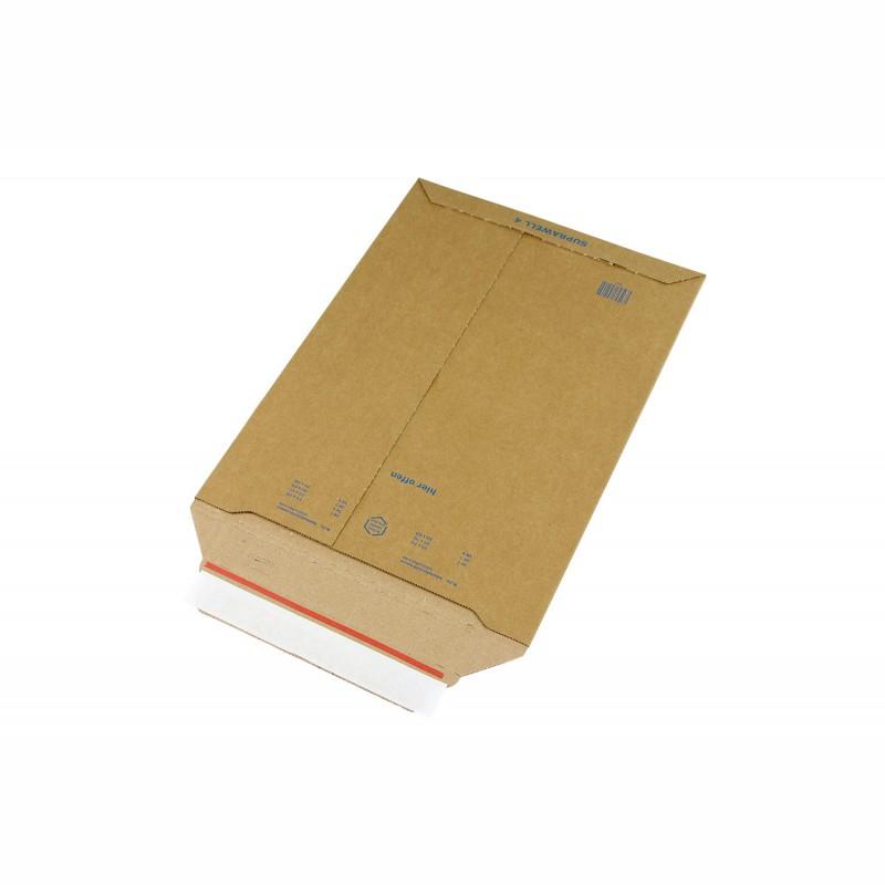 Wellpapp-Versandtasche 250x353mm, C4. braun, SK-Verschluss und. Aufreißhilfe