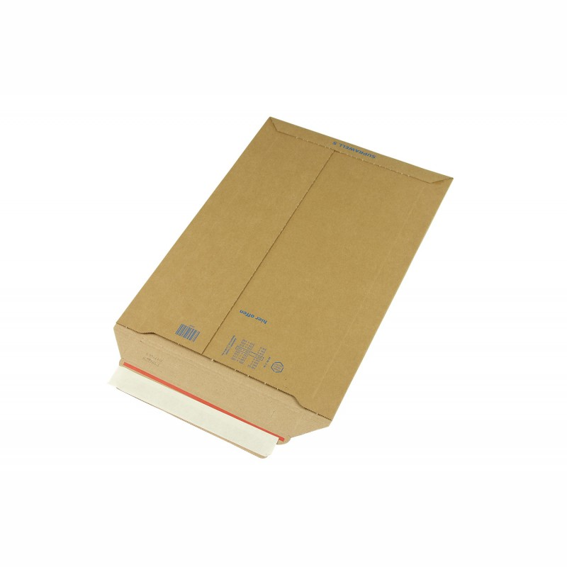 Wellpapp-Versandtasche 270x390mm, B4. braun, SK-Verschluss und. Aufreißhilfe