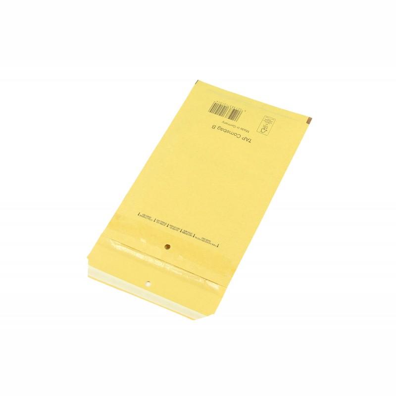 Luftpolster-Versandtasche 110x215mm, Innenmaß A6. 140x225mm, Außenmaß. braun, SK-Verschluss