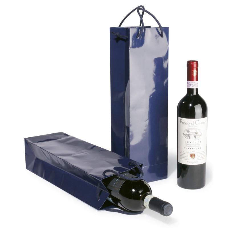 Flaschen-Tasche, blau 120+90x400 mm, 130g/qm. mit Glanzlamination, Randver-. stärkung und Bodeneinlage
