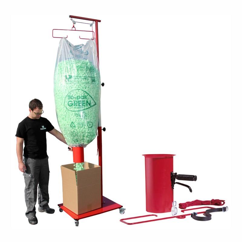 Set Mobile Abfüllvorrichtung + Füllmaterial; bestehend aus:. Galgenwagen+Abfüllvorrichtung. 2x Füllmaterial Bio Fill grün