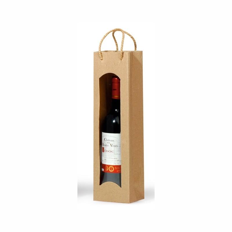 """Flaschen-Tragetasche """"Focus"""" 100x80x360mm. natur, mit Folienfenster. passend für 1 Flasche"""