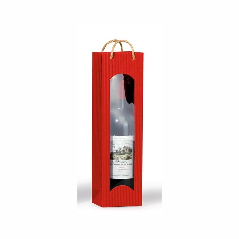 """Flaschen-Tragetasche """"Focus"""" 100x80x360mm. bordeaux, mit Folienfenster. passend für 1 Flasche"""