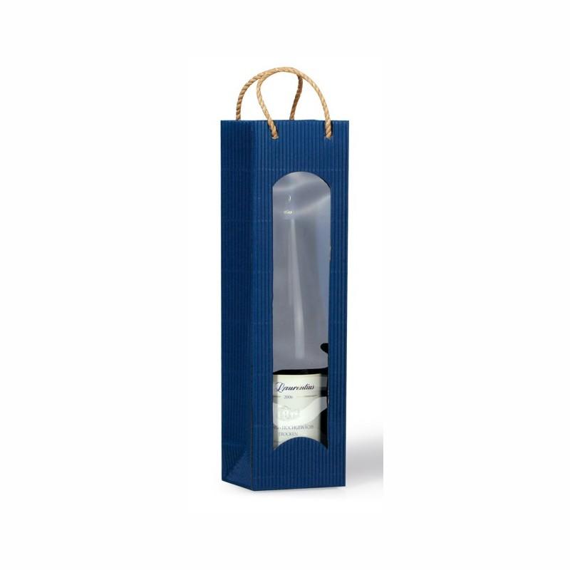 """Flaschen-Tragetasche """"Focus"""" 100x80x360mm. blau, mit Folienfenster. passend für 1 Flasche"""