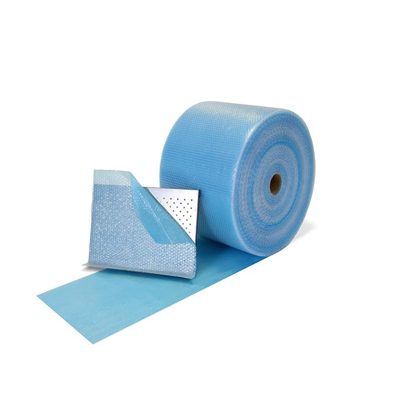 Luftpolsterfolie selbstklebend 400mmx100lfm. blau transparent.