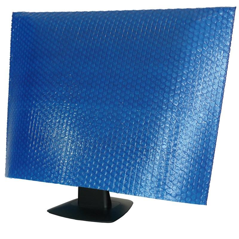 Flatscreenhülle in blau, 650x500mm,150mµ, 3-lagig,. 10mm Noppe und  35gr.. Vlieskaschierung innen