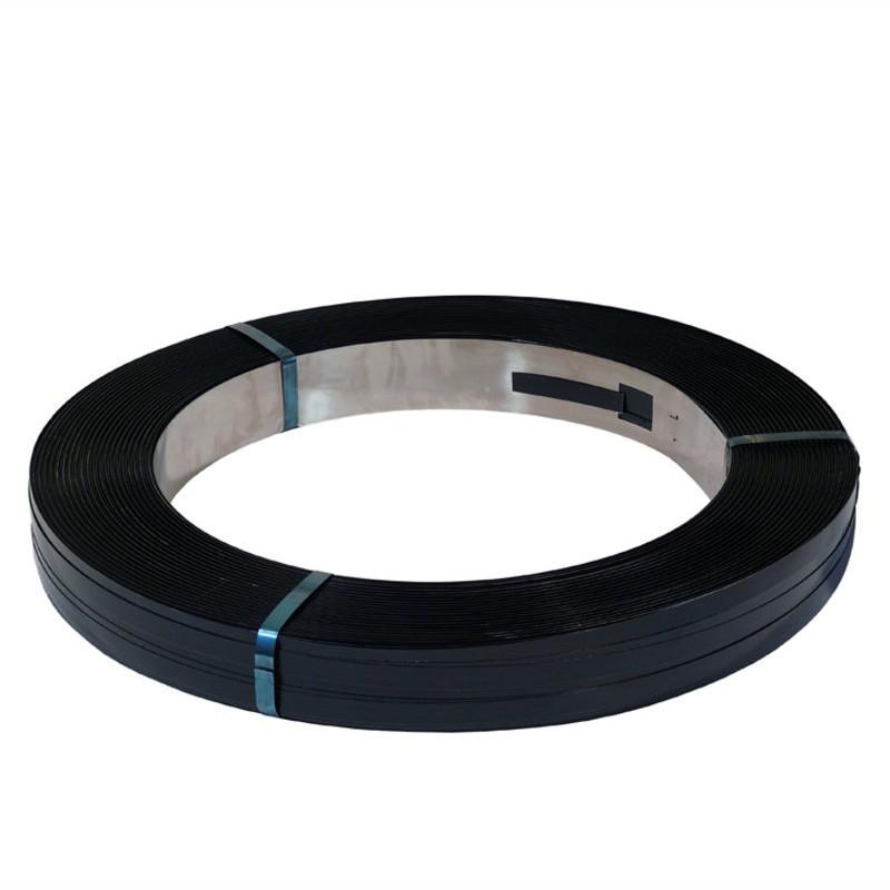 Stahlband gebläut 19,0mm breitx0,5mm. Packenwicklung, gewachst. arrondierte Kanten