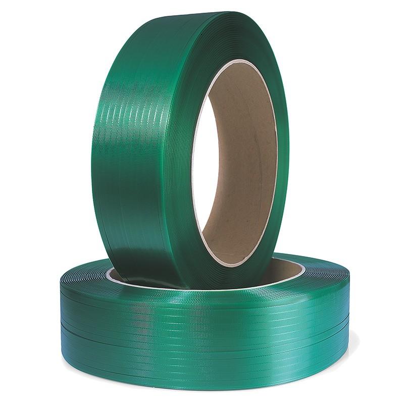 Polyester-/ PET-Umreifungsband 19x0,8mmx1200lfm. geprägt, grün, Kern 406mm. Reißfestigkeit 663kp