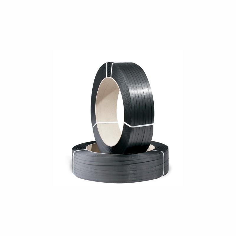 PP-Umreifungsband Großrolle 12,7x0,65mmx2500lfm. schwarz, Kerndurchm. 406mm. Reißfestigkeit 175kp