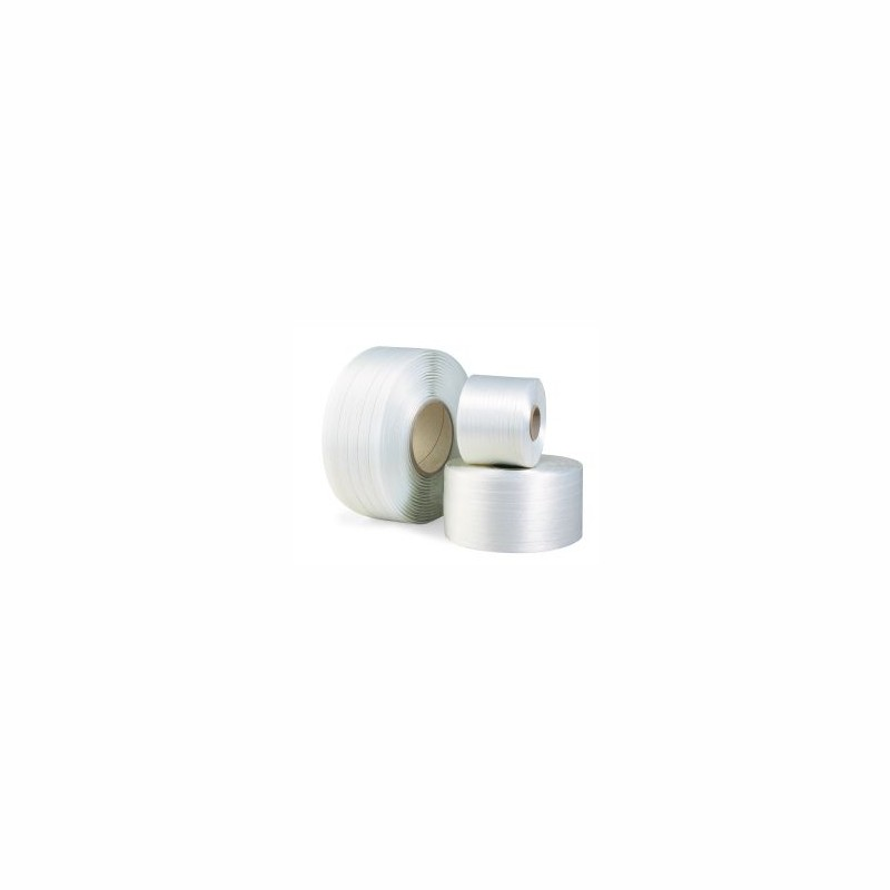 Polyesterband, fadenverstärkt 13mm breitx1100lfm. weiß, Reißfestigkeit 380kp. Kerndurchm. 76mm
