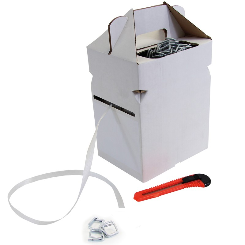 """Polyesterband """"Dispenser Box"""" 13mmx0,5mmx250lfm. weiß, inklusive 100. Metallklammern und Messer"""