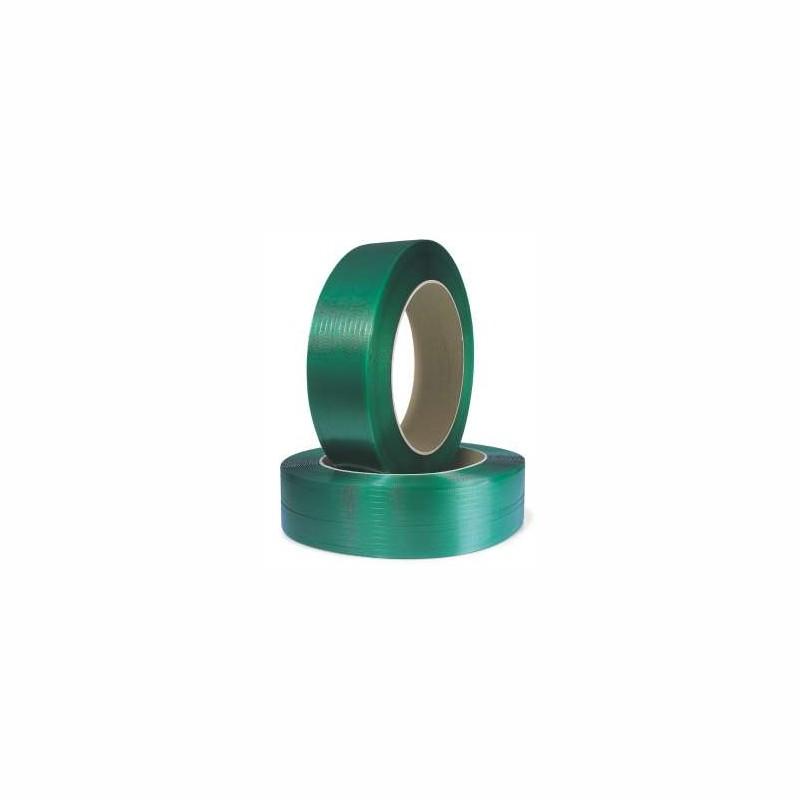 Polyester-/ PET-Umreifungsband 12x0,7mmx2300lfm. geprägt, grün, Kern 406mm. Reißfestigkeit 397kp
