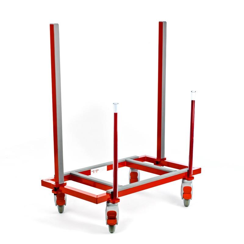 Multi-Trolley Standard zerlegt 780 x 420 mm, Tragkraft 250 kg. 2 verstellbare Stangen 780 mm,. 2 feste Stangen 420 mm