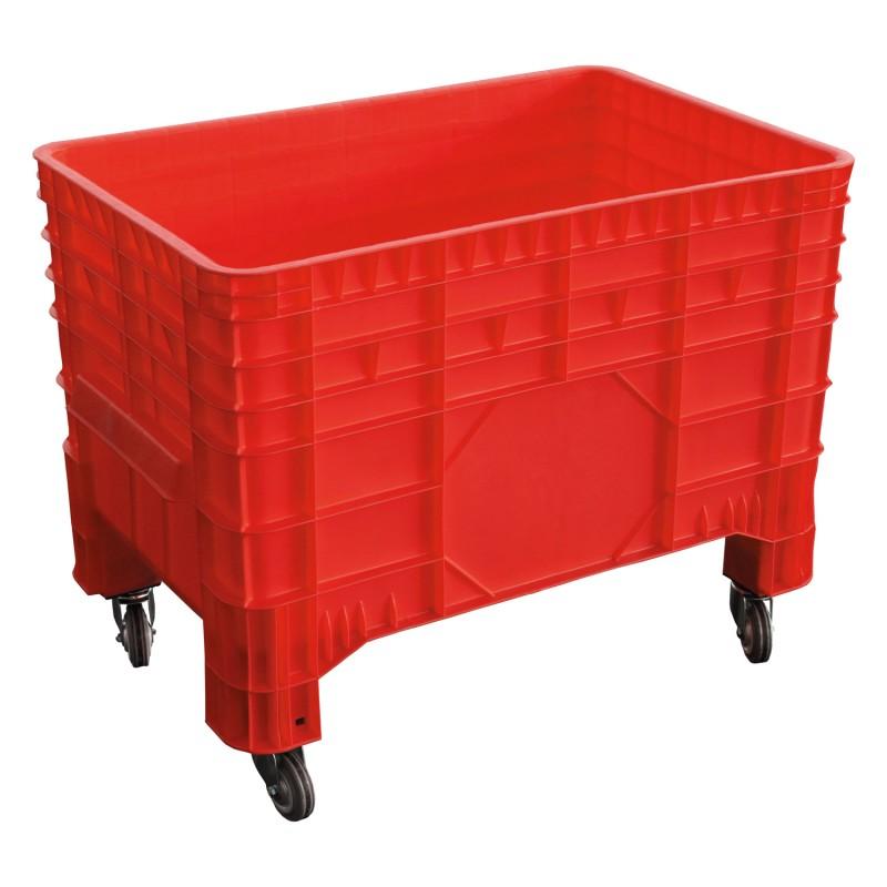 PC-Transportbehälter, ROT 1040x640x790mm, aus HDPE. Farbe rot, 4 Gummilenkrollen. Inhalt ca. 285 liter
