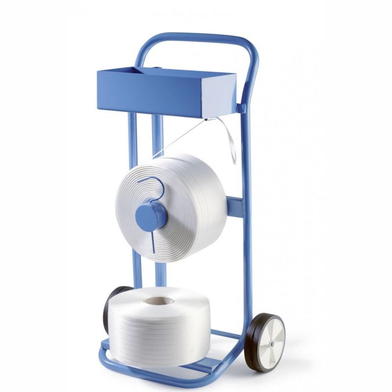Abrollwagen für Polyesterband. mit 76mm Kerndurchmesser,. fahrbar, mit Ablagekasten