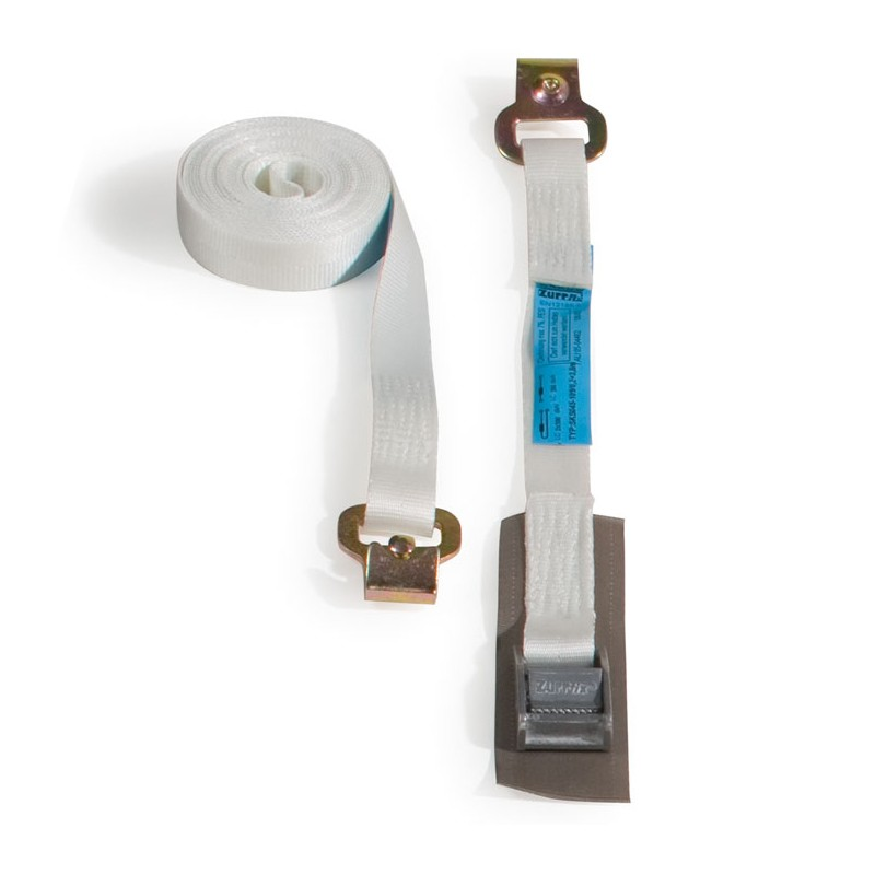 Spann- und Zurrgurt 25mmx4m, weiß. Klemmschnalle und Flachhaken. geprüft & gefertigt nach EN 95