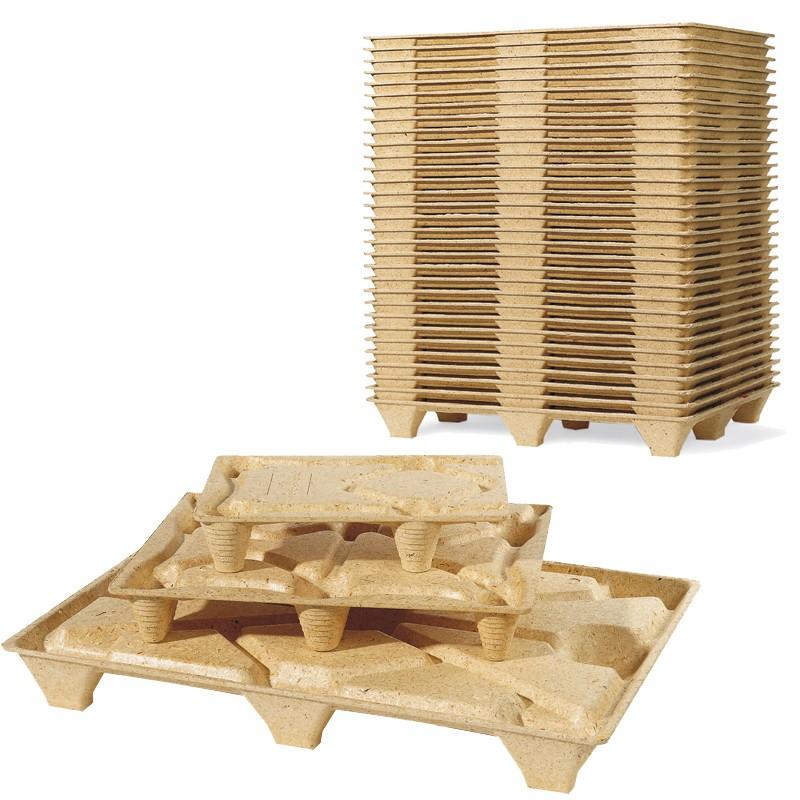 Pressholzpalette 600x800mm, 1/2 Euromaß. Tragkraft bis 500kg. 6 Füße, F64