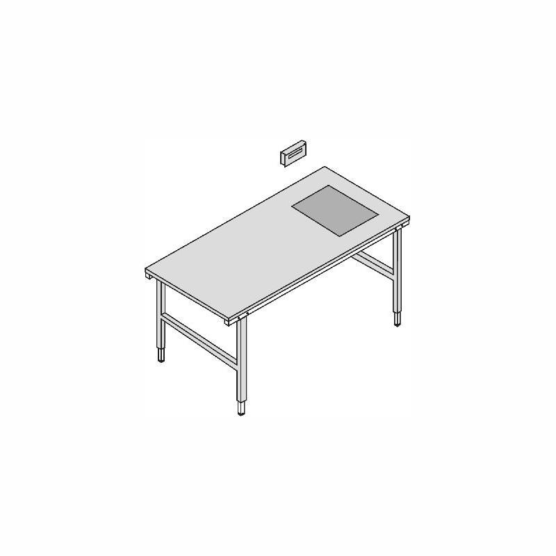 Packtisch mit Waage 2000x920mm. von 690-960mm, mit 60kg-Waage. hellgrau,höhenverstellbar
