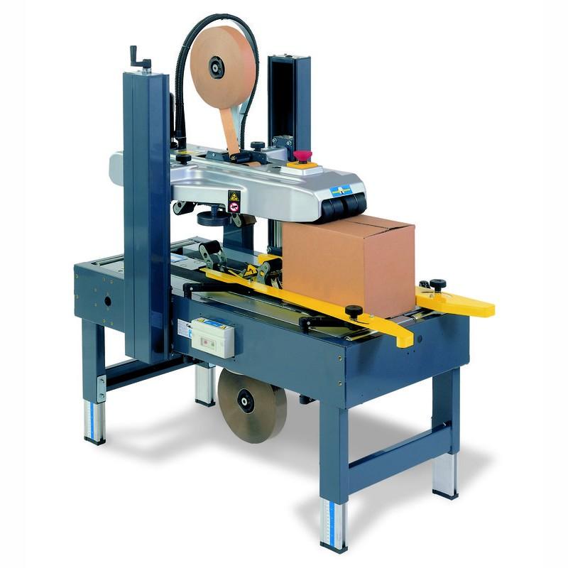 Kartonverschließmaschine TP 302-K. manuell einstellbares Format. Antrieb oben und unten