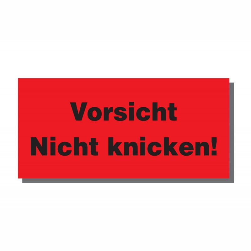 Warn- und Hinweisetiketten 145x70mm, aus Papier. rot, mit Aufdruck. Vorsicht Nicht knicken