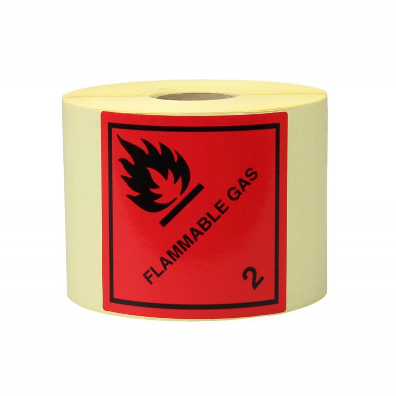 Gefahrgut-Etiketten 100x100mm, aus Papier. Aufdruck/Symbol. Flammable Gas, Kl. 2