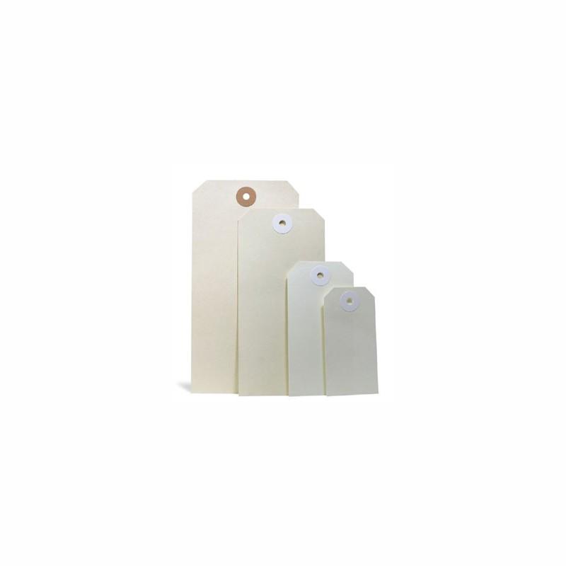 Anhänge-Etiketten 50x100mm, Qualität 190g/qm. Manilakarton, chamois. mit verstärkter Kartonöse