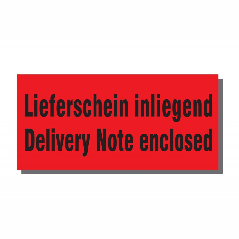 Warn- und Hinweisetiketten 145x70mm, aus Papier. rot, mit Aufdruck 2-sprachig. Delivery Note enclosed