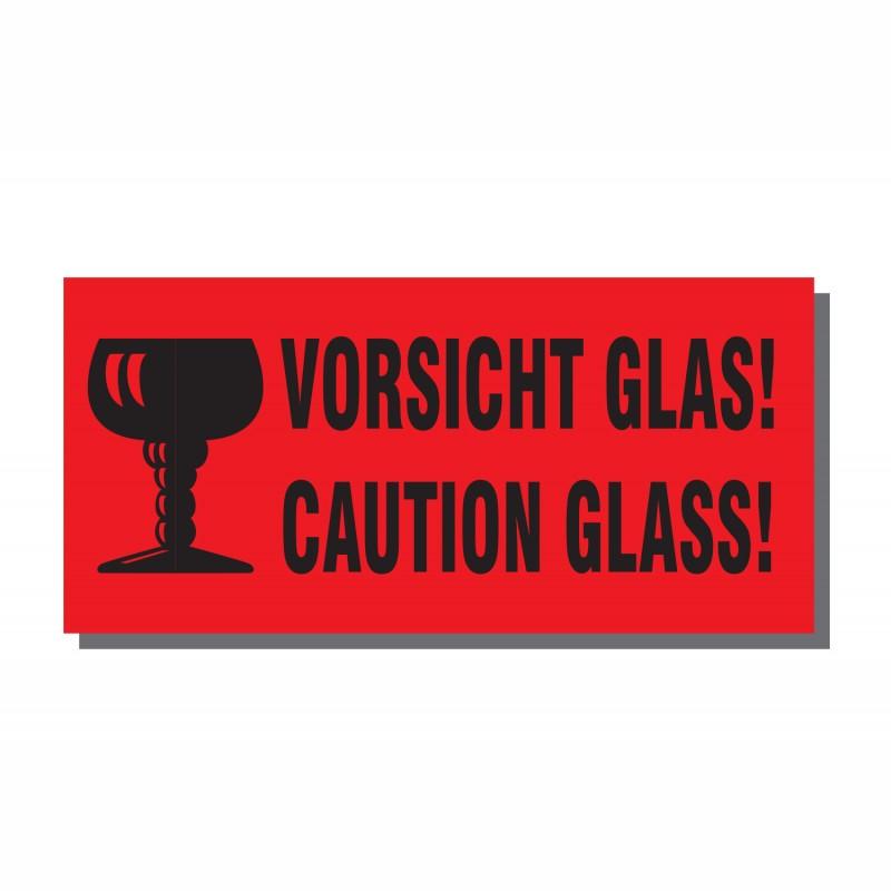Warn- und Hinweisetiketten 145x70mm, aus Papier. rot, mit Aufdruck 2-sprachig. Caution Glass