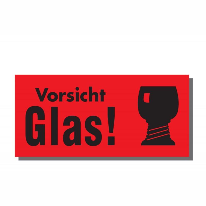 Warn- und Hinweisetiketten 145x70mm, aus Papier. rot, mit Aufdruck. Vorsicht Glas