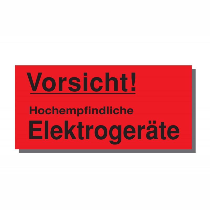Warn- und Hinweisetiketten 145x70mm, aus Papier. rot, mit Aufdruck. Empfindliche Elektroge.