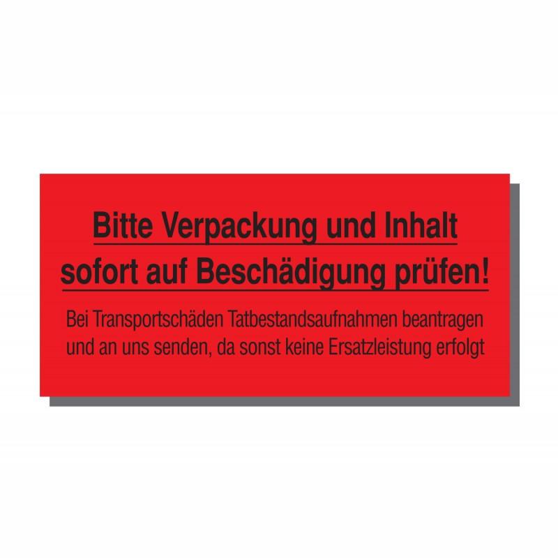 Warn- und Hinweisetiketten 145x70mm, aus Papier. rot, mit Aufdruck. Inhalt prüfen