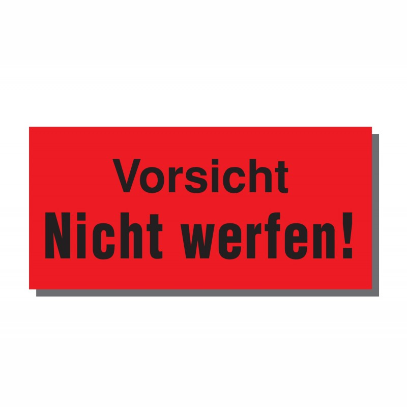 Warn- und Hinweisetiketten 145x70mm, aus Papier. rot, mit Aufdruck. Vorsicht Nicht werfen