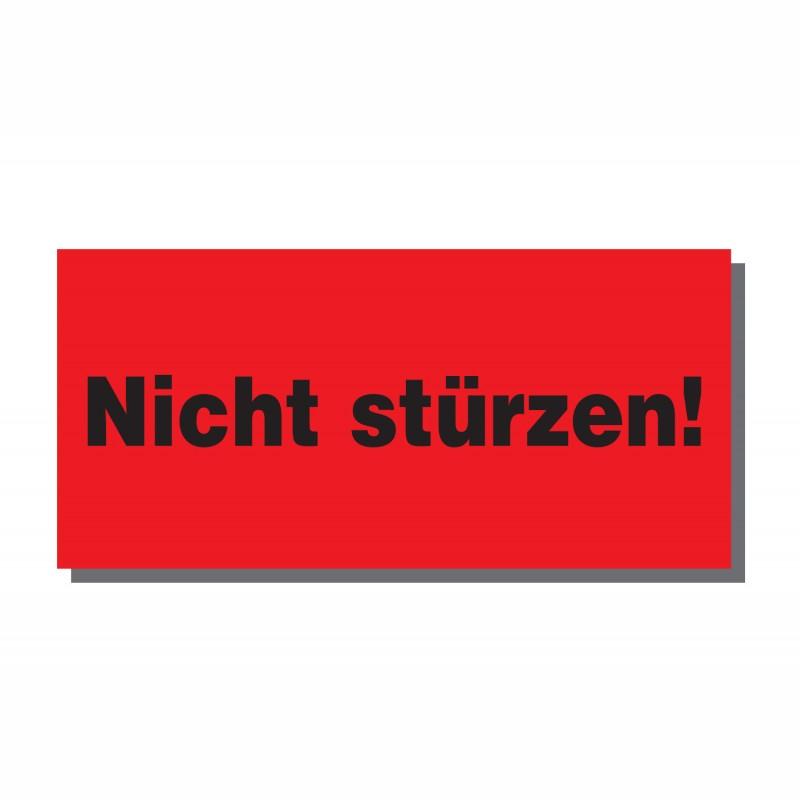 Warn- und Hinweisetiketten 145x70mm, aus Papier. rot, mit Aufdruck. Nicht stürzen
