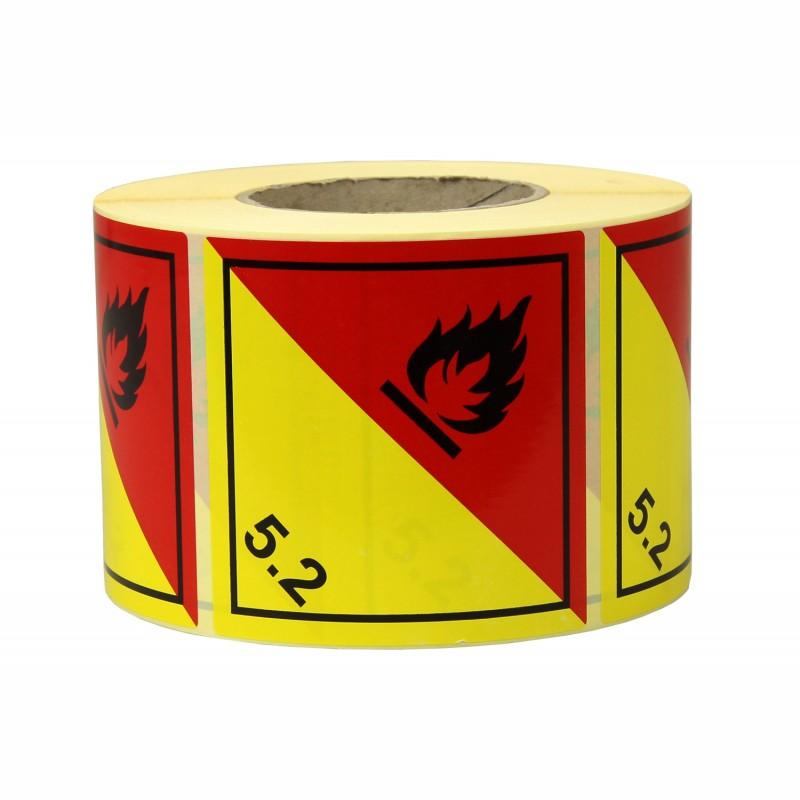 Gefahrgut-Etiketten 100x100mm, aus Papier. rot/gelb mit Aufdruck/Symbol. Organic Peroxide, Kl. 5.2
