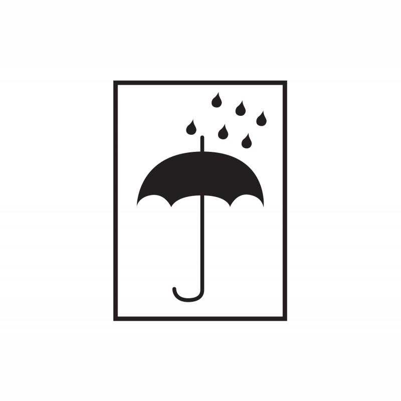 Warn- und Hinweisetiketten 75x105mm, aus Papier. weiß, mit Symbol. Vor Nässe schützen (Schirm)
