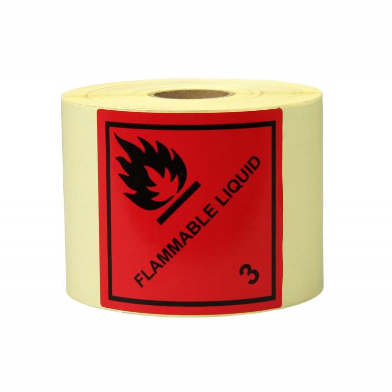Gefahrgut-Etiketten 100x100mm, aus Papier. rot,Aufdruck/Symbol. Flammable Liquid, Kl. 3