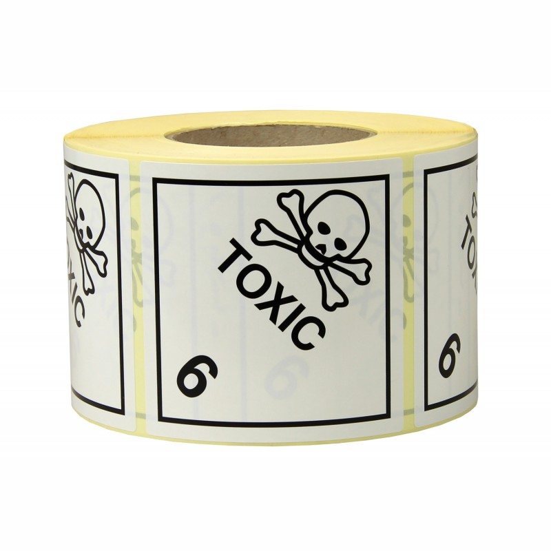 Gefahrgut-Etiketten 100x100mm, aus Papier. weiß, mit Aufdruck/Symbol. Toxic, Kl. 6.1