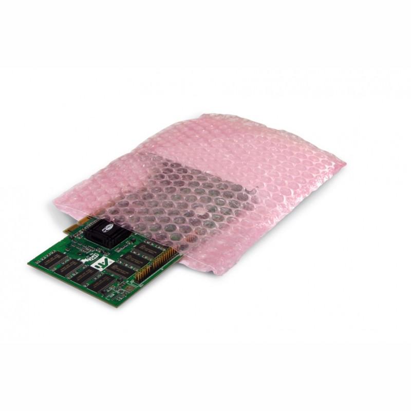 Antistat. Luftpolsterbeutel 150x200mm, 100µ. rosa, Noppen auf Außenseite.