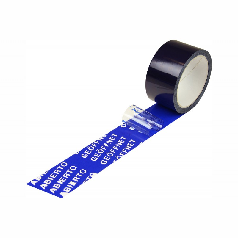 Sicherheits-Siegelband 50mmx50lfm. blau, GEÖFFNET 5-sprachig. Acrylatkleber