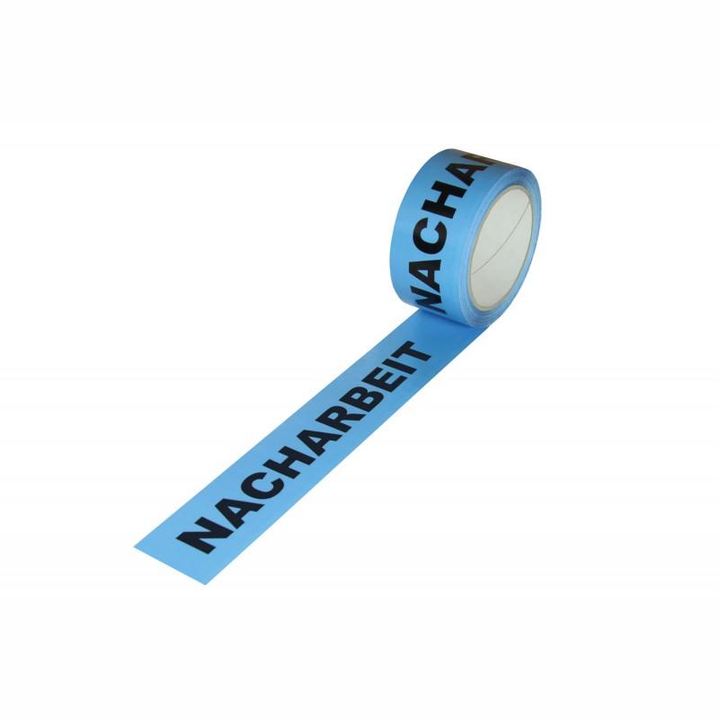 """ISO Kennzeichnungsband 50mm breitx66lfm, 52µ, PP-Band. blau,mit Aufdruck """"Nacharbeit"""". nach DIN EN 9001, Acrylatkl."""