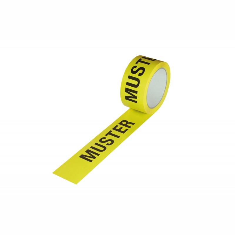 """ISO Kennzeichnungsband 50mm breitx66lfm, 52µ, PP-Band. gelb, mit Aufdruck """"Muster"""". nach DIN EN 9001, Acrylatkl."""