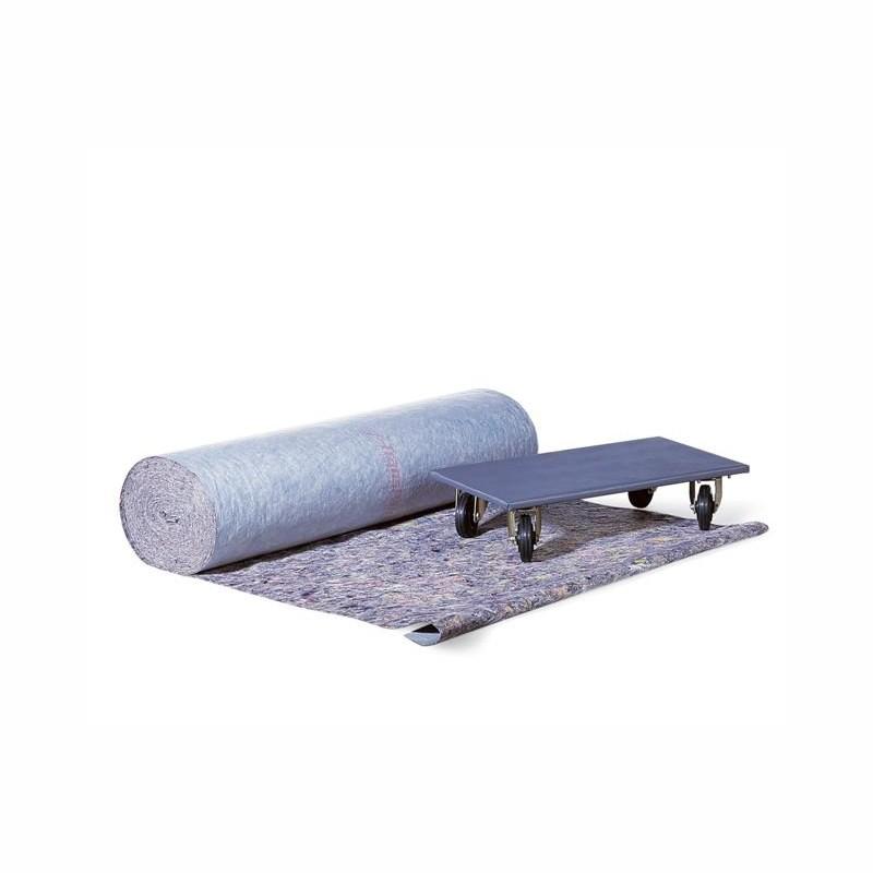 Mehrfach-Schutzfolie aus Vlies 1m breitx50lfm, 50 qm/Rolle. Unterseite kunststoffbeschicht. Mittlere Qualität ca. 270g