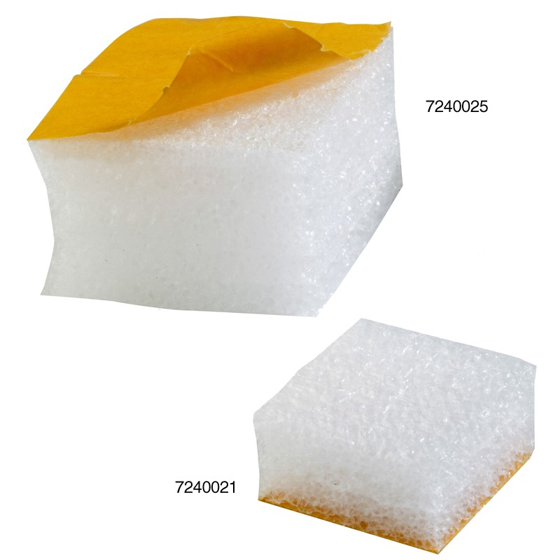 Schaumpads 50x50x25mm. weiß, 30kg/qm Raumgewicht. selbstklebend, perm. haftend