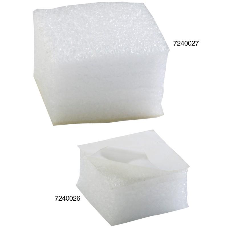 Schaumpads 50x50x25mm. weiß, 30kg/qm Raumgewicht. selbstklebend, leicht haftend