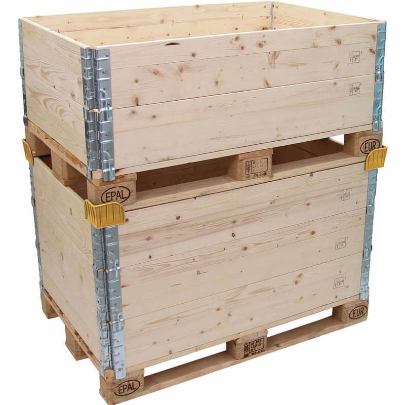Stapelecken für Holzaufsetz- rahmen aus Kunststoff, gelb. .