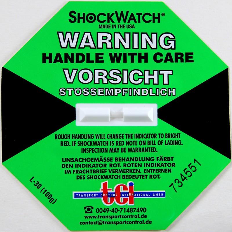 Shockindikator Shockwatch 100g / 50ms grün. selbstklebend.
