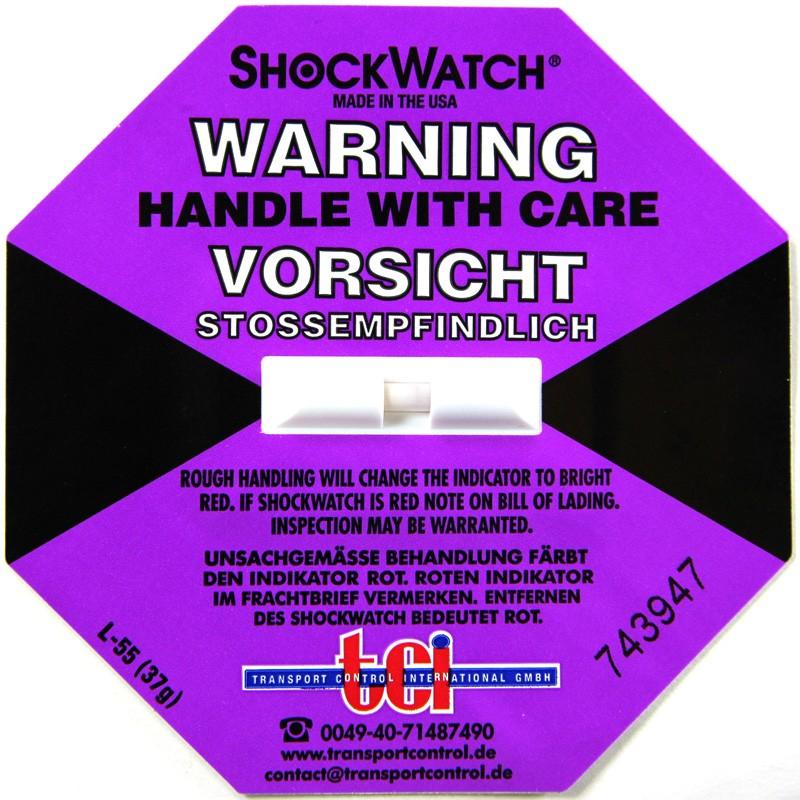 Shockindikator Shockwatch 37g / 50ms blau-lila. selbstklebend.