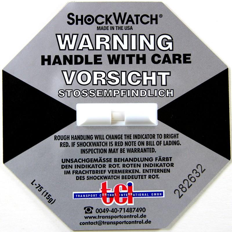 Shockindikator Shockwatch 15g / 50ms grau. selbstklebend.